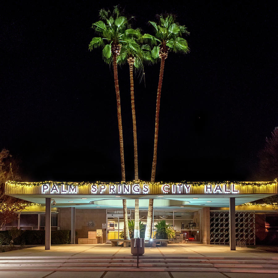 Palm Springs City Hall By Night Photograph by Mark Coggins