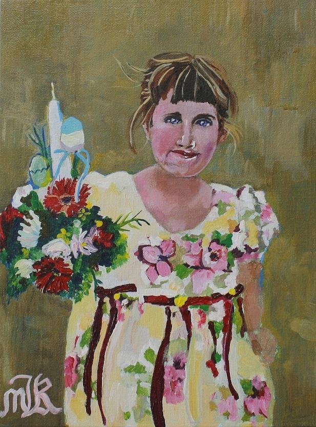 Holy Land Painting - Palm Sunday Palestinian Girl by Marwan  Khayat