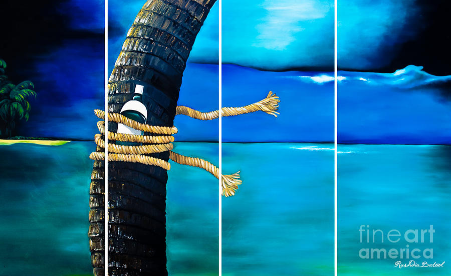 Palm Tree And Blue Sea Painting by Rushdia Batool