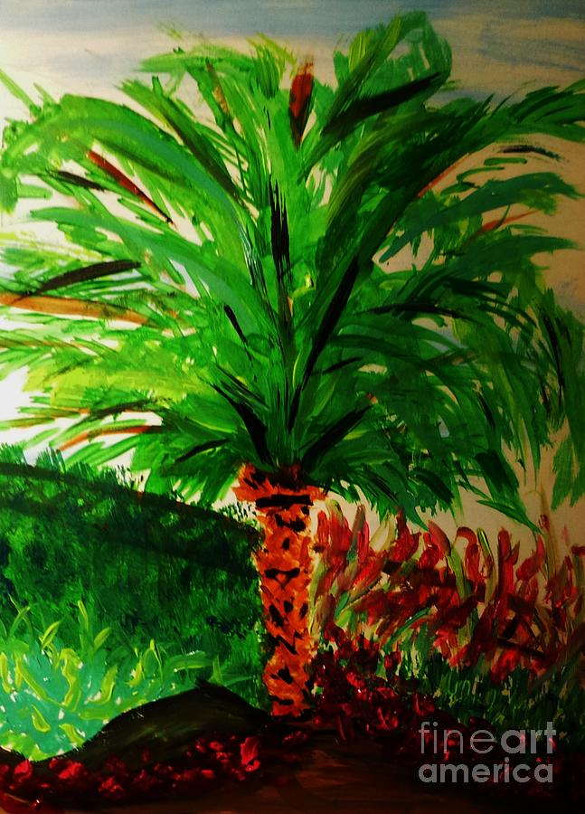 Palm Tree In The Garden Painting by Marie Bulger