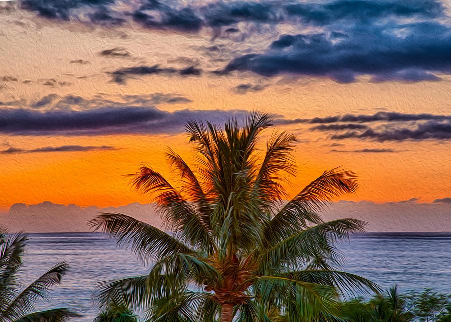 Palm Tree Sunset Painting By Omaste Witkowski