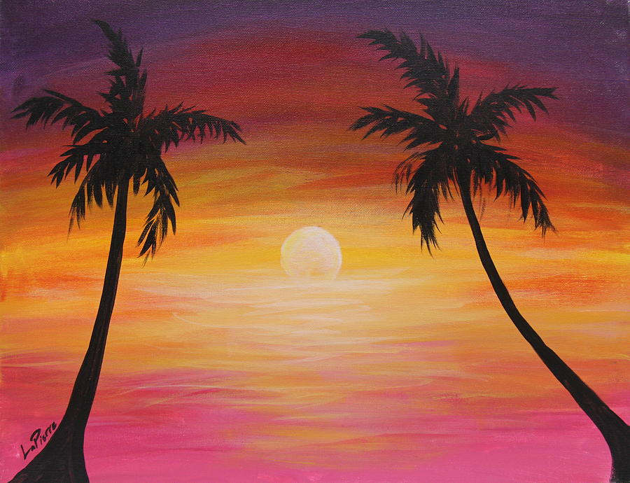 Palm Tree Sunset Painting By Uptown Art