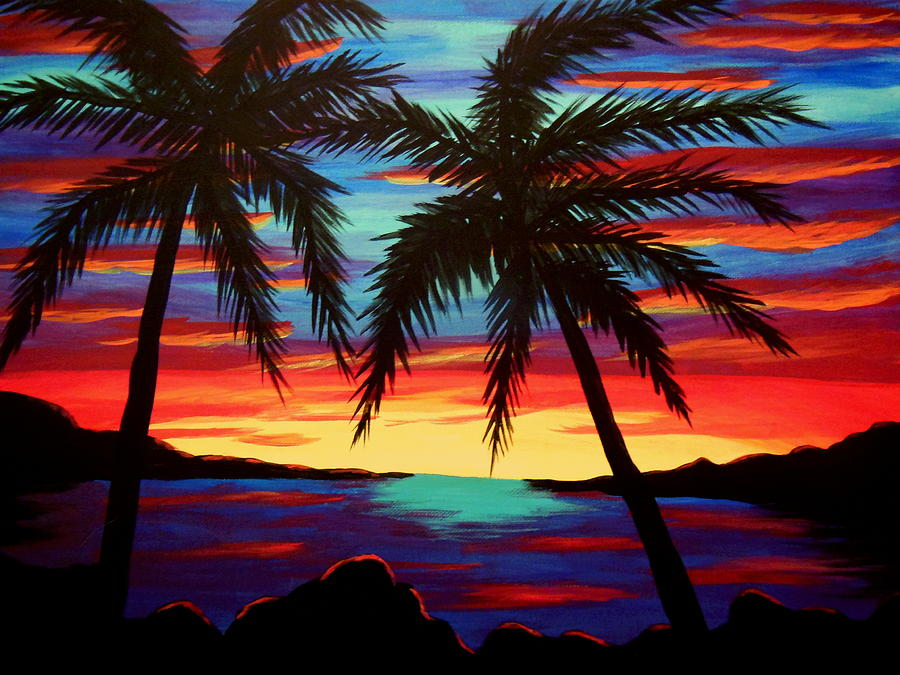 Sunset Photograph - Palm Tree Sunset by Virginia Forbes