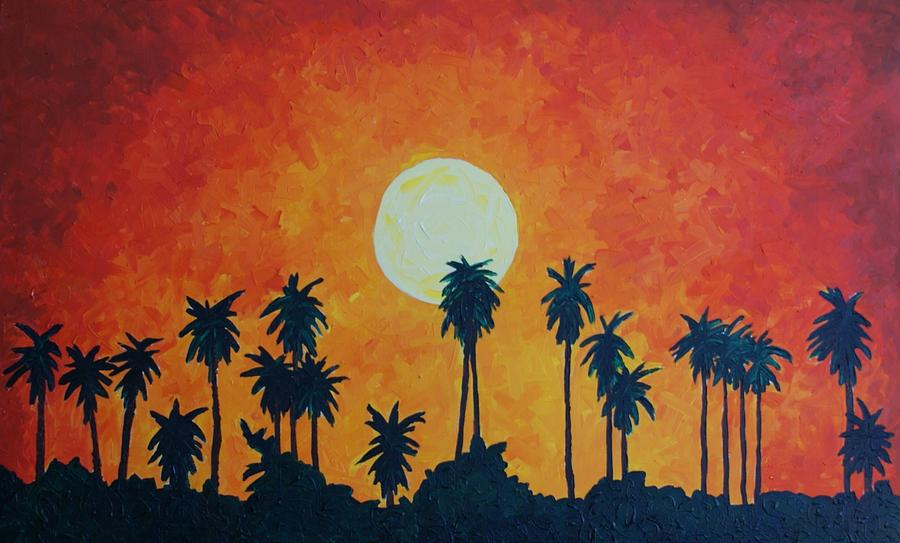Palm Trees With Setting Sun Painting By Lone Quixote