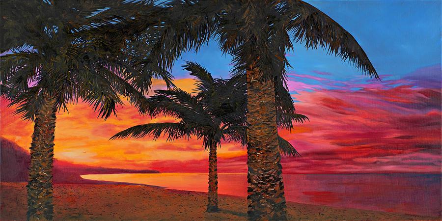 Palm Painting - Palme Al Tramonto by Guido Borelli
