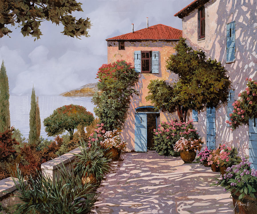 Terrace Painting - Palmette Viola by Guido Borelli