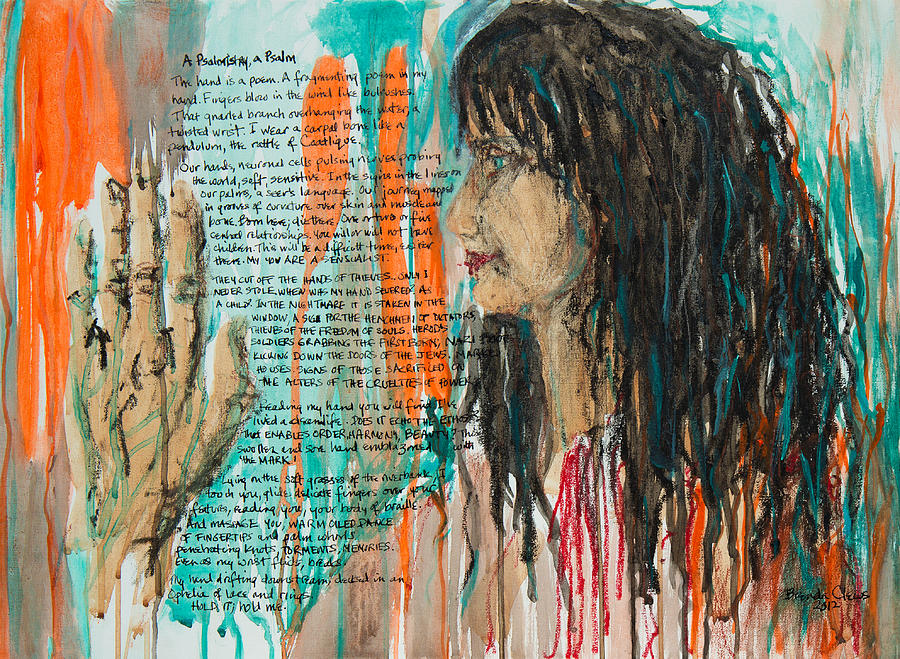 Figurative Painting - Palmistry A Psalm by Brenda Clews