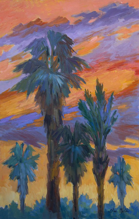 Palms Painting - Palms And Sunset by Diane McClary