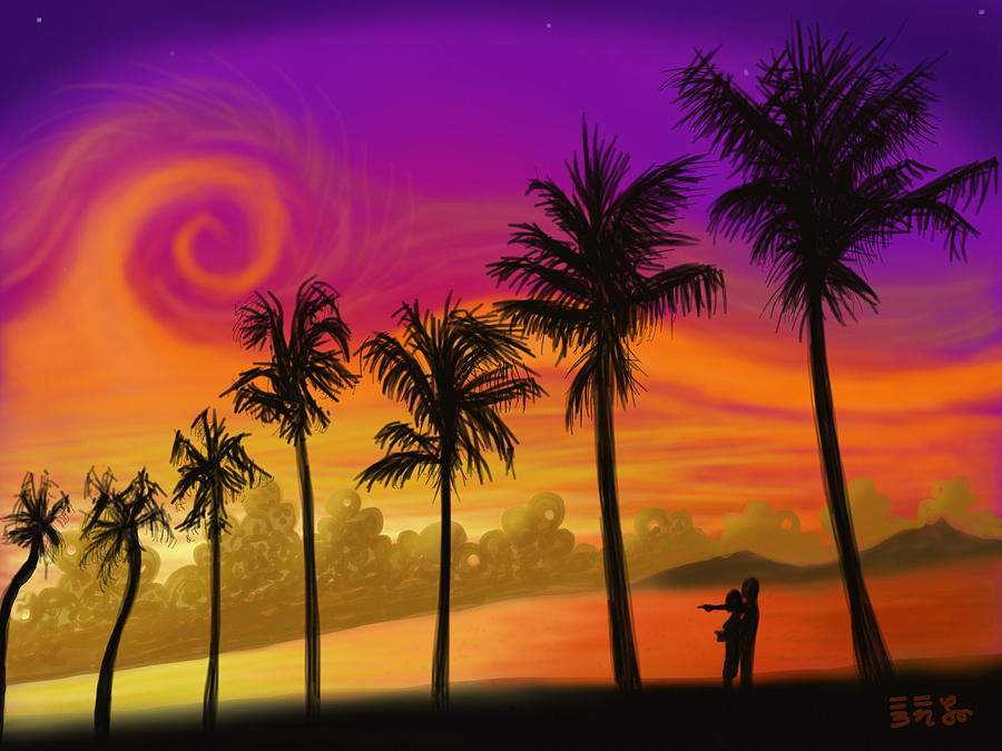 Beach Painting - Palms Over St. Croix by Ebenlo - Painter Of Song