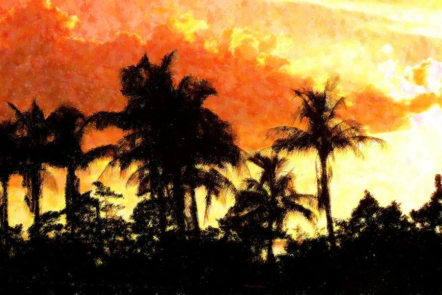 Abstract Mixed Media - Palms See Red by Florene Welebny