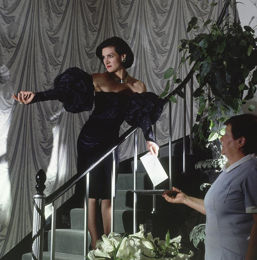Paloma Picasso Giving A Letter To A Servant Photograph by Horst P. Horst
