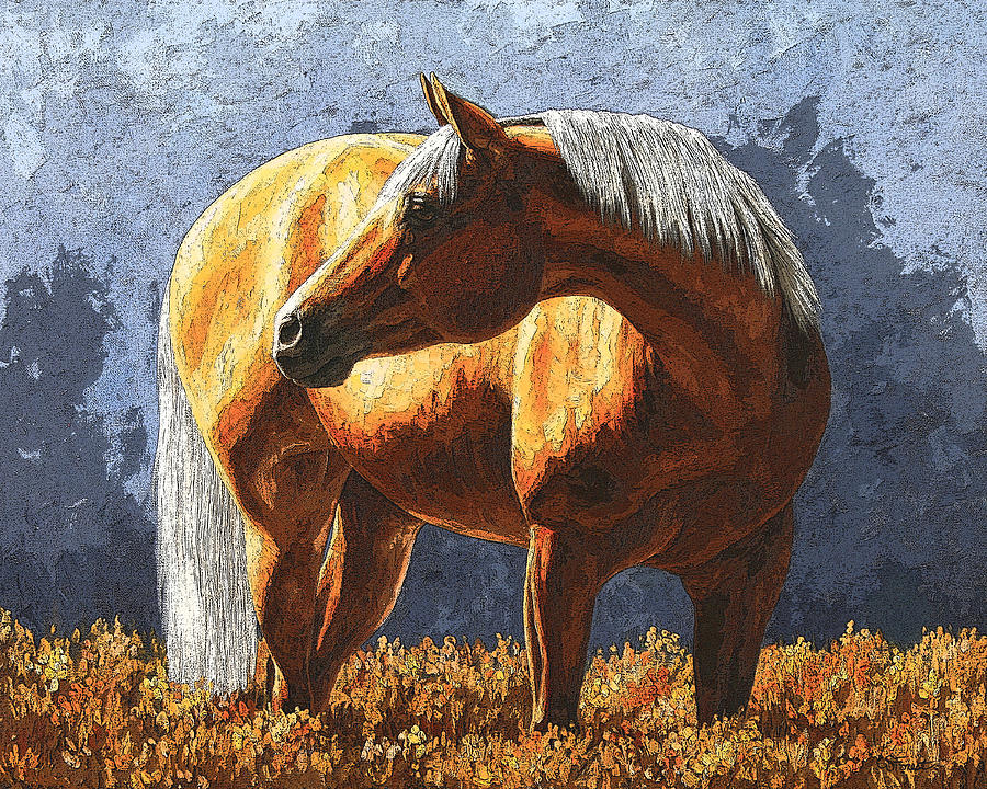 Horse Painting - Palomino Horse - Variation by Crista Forest