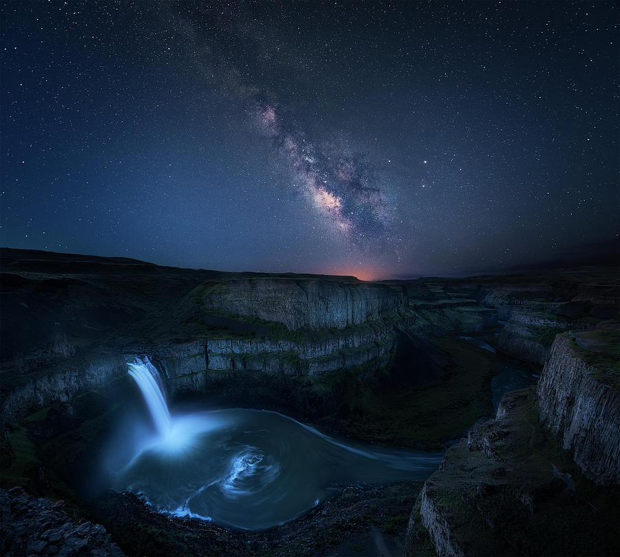 Sky Photograph - Palouse Waterfall And The Milky Way by Jie Chen