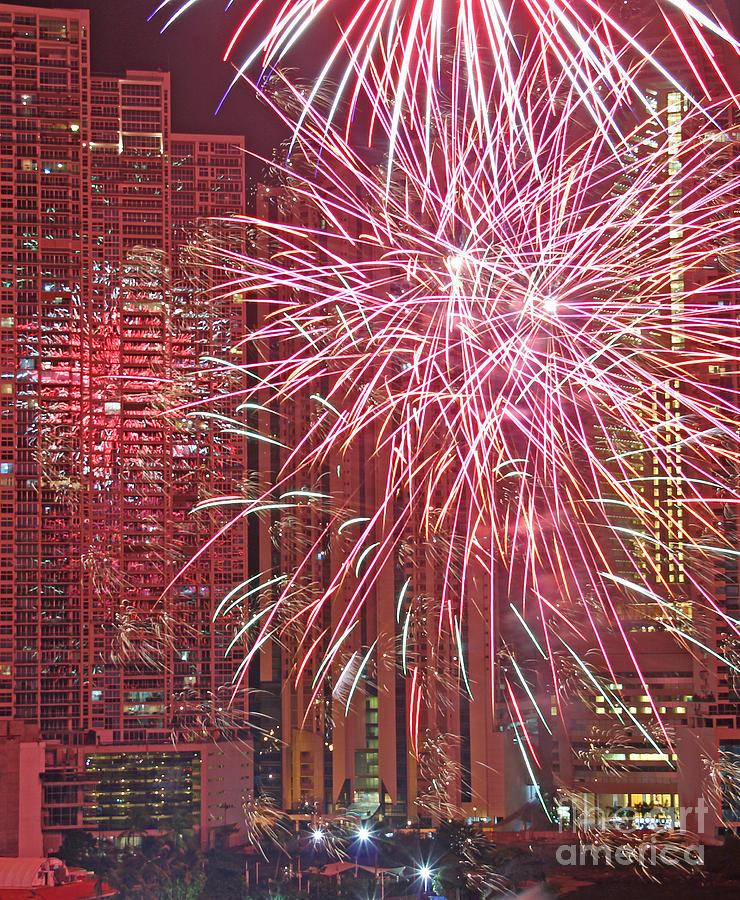 Panama Photograph - Panama Fireworks by Bob Hislop