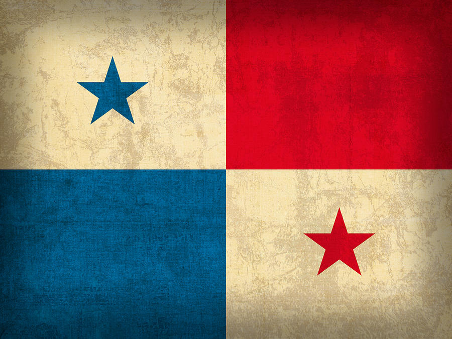 Panama Flag Vintage Distressed Finish Mixed Media By