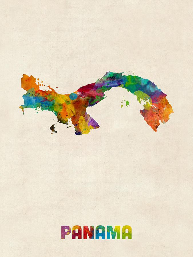 Watercolour Digital Art - Panama Watercolor Map by Michael Tompsett