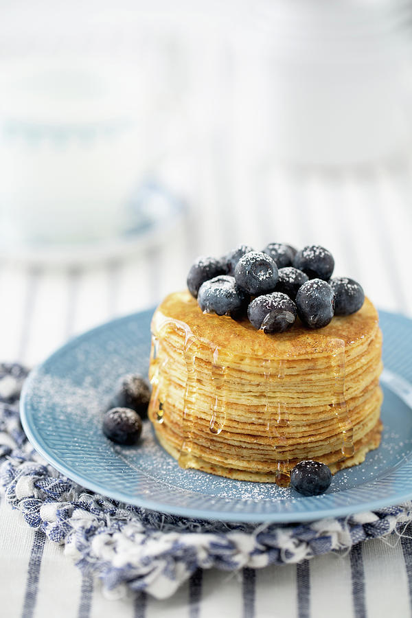 Pancakes With Blueberries Photograph by Elin Enger