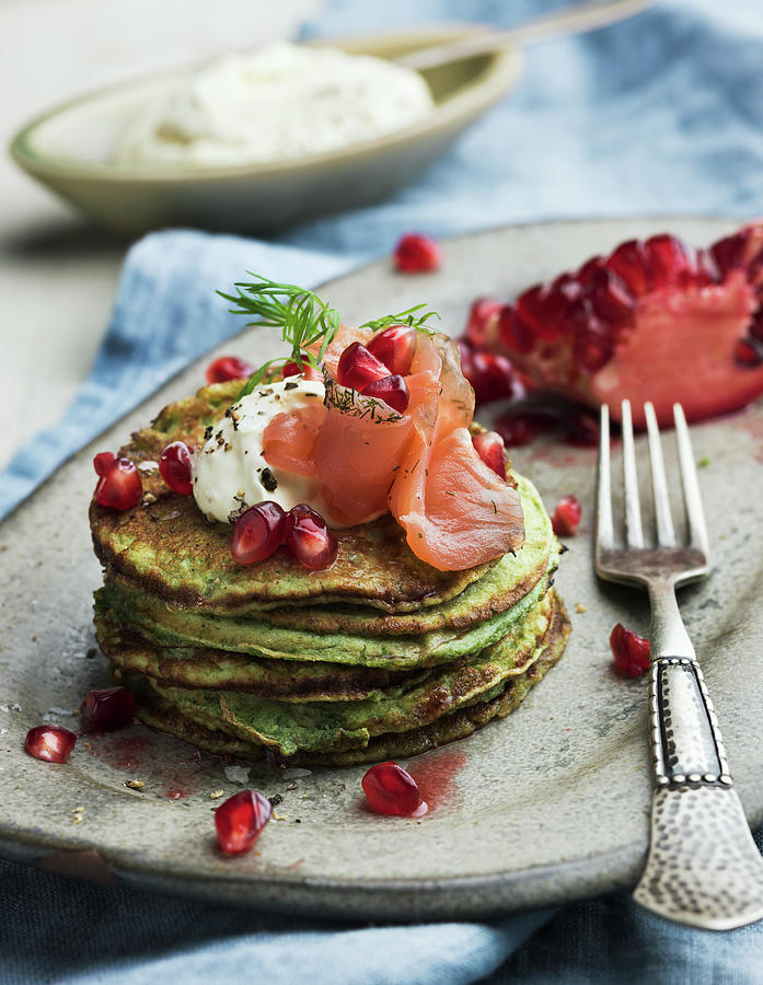 Pancakes With Salmon, Sweden Photograph by Johner Images