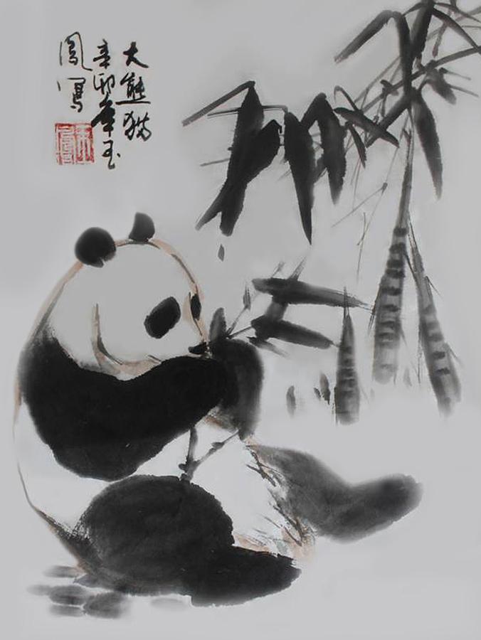 Panda And Bamboo Photograph by Yufeng Wang