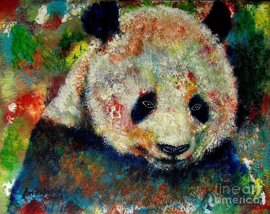 Wild Animal Painting - Panda Bear by Anastasis  Anastasi