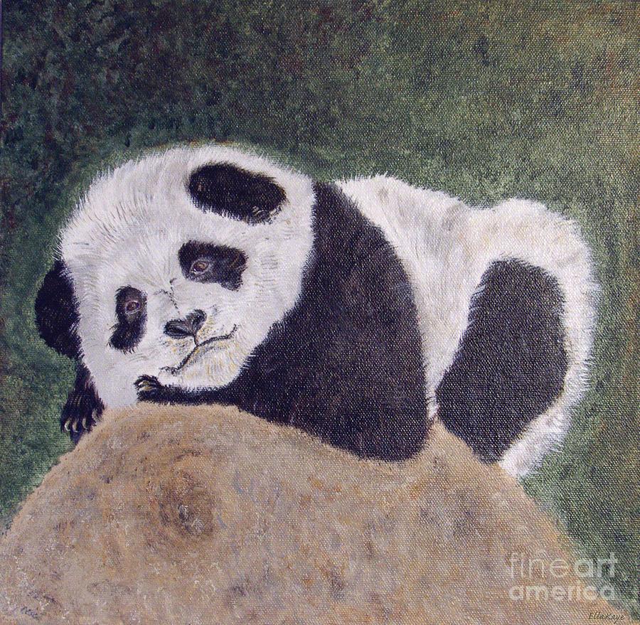 Panda Bear Painting - Panda Bear Sleepy Baby Cub by Ella Kaye Dickey