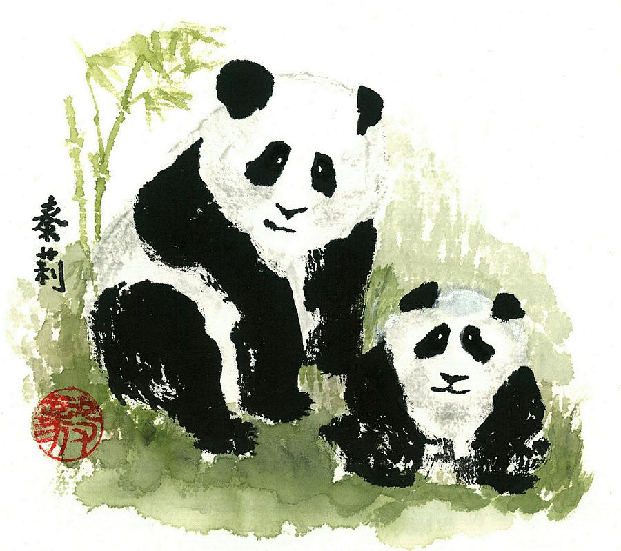 Panda Bear Painting - Panda Bears by Terri Harris