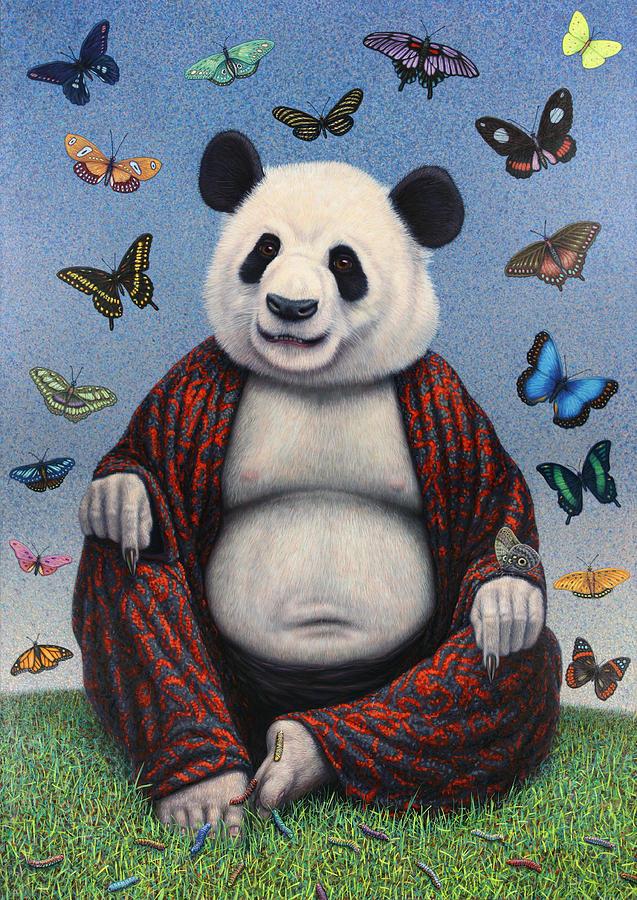 Panda Painting - Panda Buddha by James W Johnson
