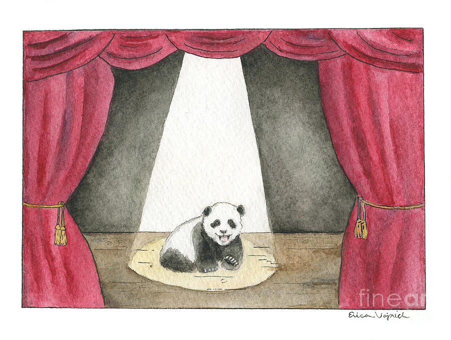 Panda Painting - Panda Cub On Center Stage by Erica Vojnich