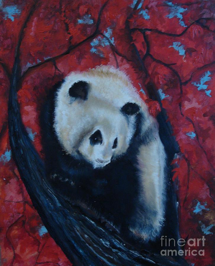 Panda Painting - Panda by Donna Chaasadah