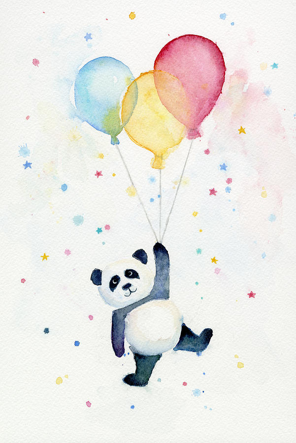 Panda Floating With Balloons Painting By Olga Shvartsur