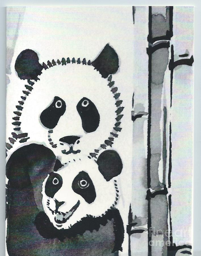 Panda Mother And Cub Painting