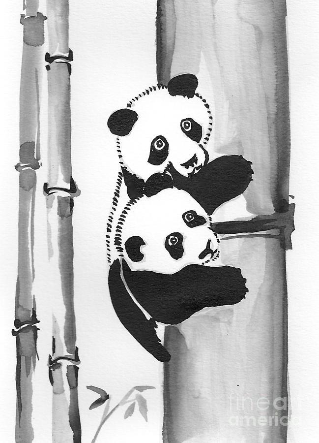 Panda Twins Painting