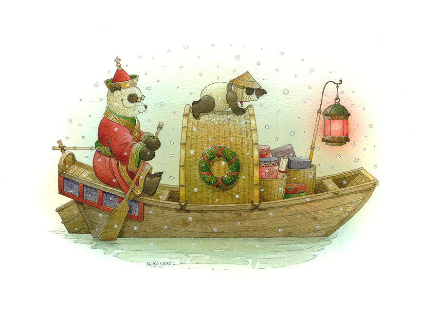 Pandabears Christmas Painting by Kestutis Kasparavicius