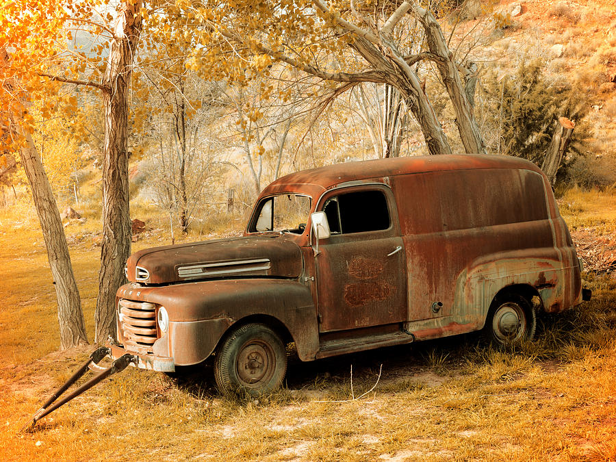 Aged Photograph - Panel Truck by Leland D Howard