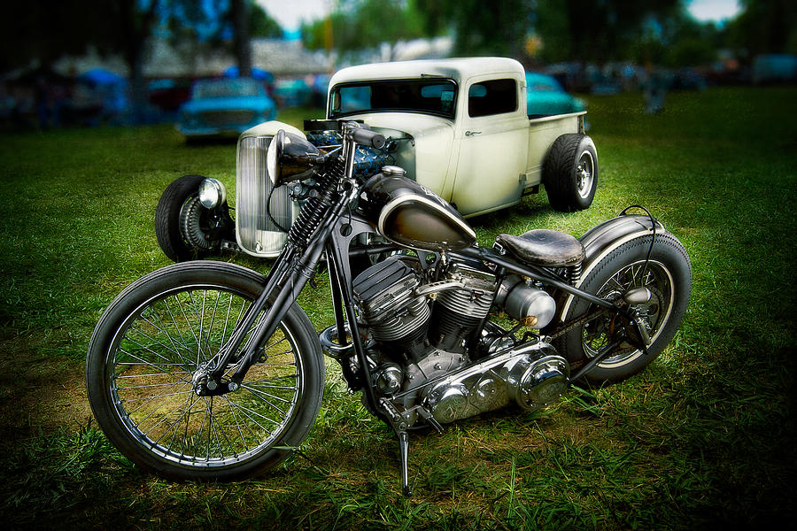 Antique Photograph - Panhead Harley And Ford Pickup by YoPedro
