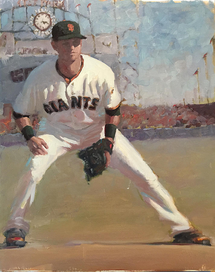 Joe Panik Painting - Panik at Second by Darren Kerr