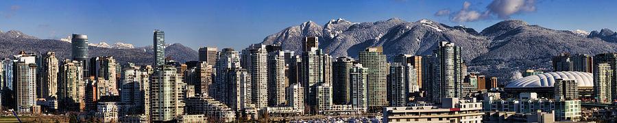 Panorama Photograph - Pano Vancouver Snowy Skyline by David Smith