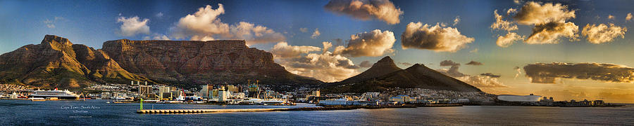 Cape Town Photograph - Panorama Cape Town Harbour At Sunset by David Smith