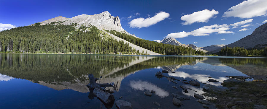 Peak Photograph - Panorama Of A Mountains Reflecting On A by Michael Interisano