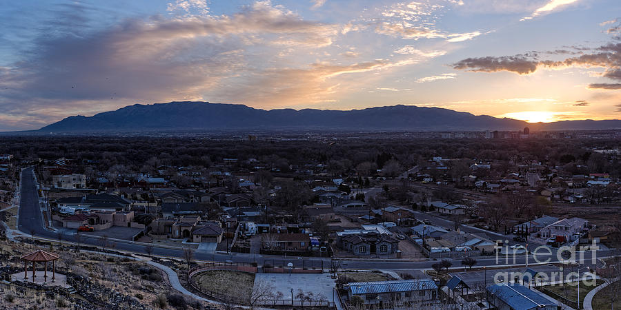 Panorama of albuquerque and sandia mountain at sunrise from pat downtown photograph panorama of albuquerque and sandia mountain at sunrise from pat hurley park sciox Choice Image
