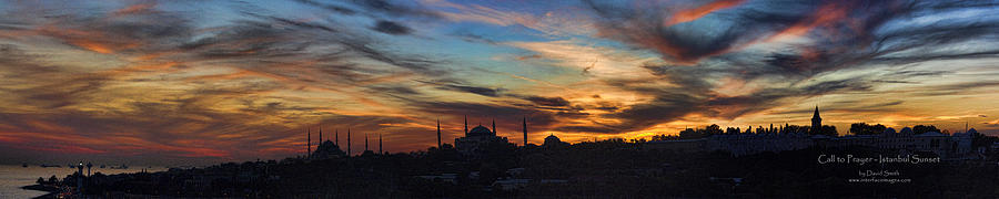 Panoramic Photograph - Panorama Of Istanbul Sunset- Call To Prayer by David Smith