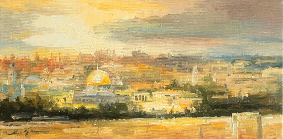 Panorama Of Jerusalem Painting By Luke Karcz