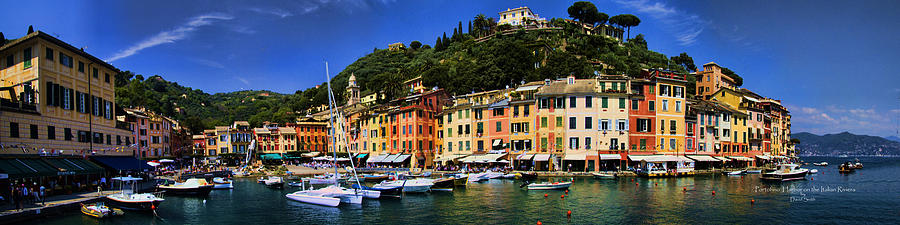 Port Photograph - Panorama Of Portofino Harbour Italian Riviera by David Smith