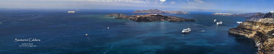 Santorini Photograph - Panorama of Santorini Caldera by David Smith