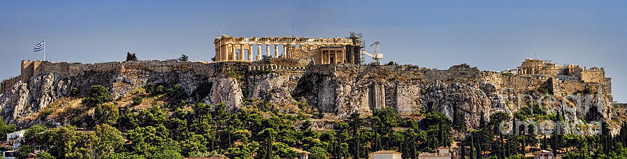 Athens Photograph - Panorama of the Acropolis in Athens by David Smith