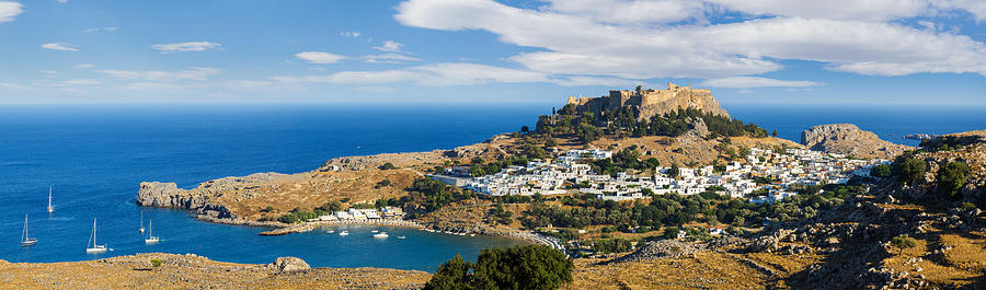 Island Photograph - Panorama of the Lindos acropolis in Rhodes by Gurgen Bakhshetsyan