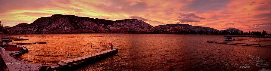 Sunset Photograph - Panorama Sunset Skaha Lake by Guy Hoffman