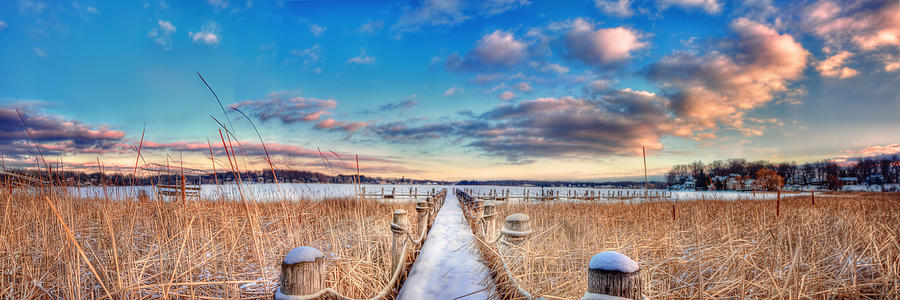 Path Photograph - Panoramic Crooked Lake by Jenny Ellen Photography