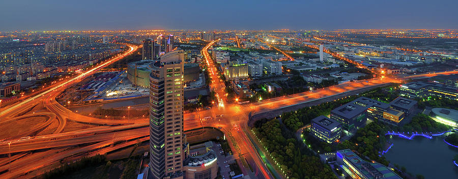 Panoramic Night View Of Jinqiao Export Photograph by Wei Fang