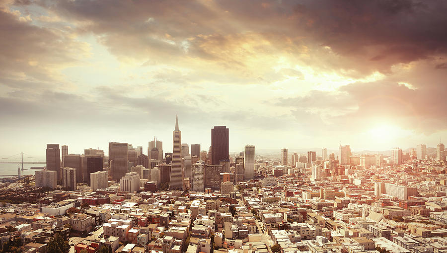 Panoramic Photo Of San Francisco In Photograph by Narvikk
